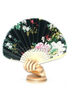 Black Semicircular Fan with Many Kind of Flowers