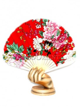 Colored Peony Semicircular Chinese Fabric Fan