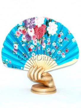 Flower Blue Semicircular Oriental Fan