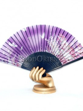 Purple Base Butterfly and Flower Oriental Fan