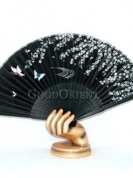 Black Base Butterfly and Flower Oriental Fan