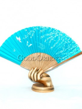 Light Blue Base Butterfly and Flower Oriental Fan