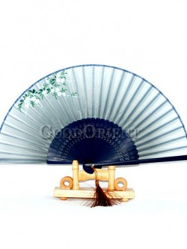 Small Flower Blue Rib Tassel Oriental Fan