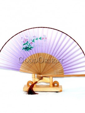 Small Flower Purple Base Tassel Oriental Fan
