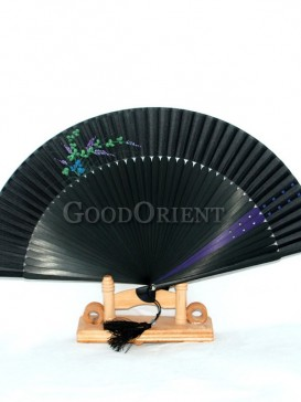 Black Fabric Fans with Purple and Green Flowers