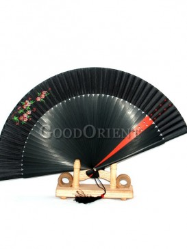 Little Red Flowers Black Fabric Fans with Tassel