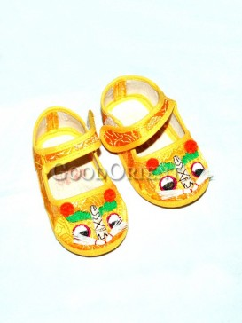 Yellow Baby Learning Walk Embroidery shoesss