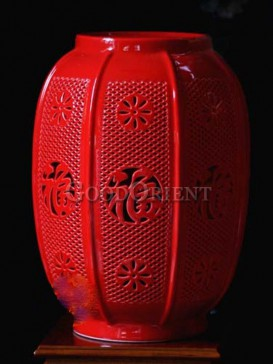 Fortune and Fate Red Porcelain Lantern Decoration