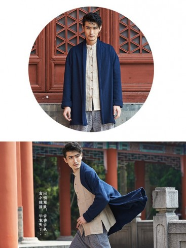 Trendy Blue Color Chinese Clothing