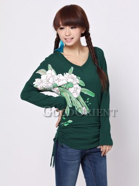 Ethnic Chinese blouse with flower prints